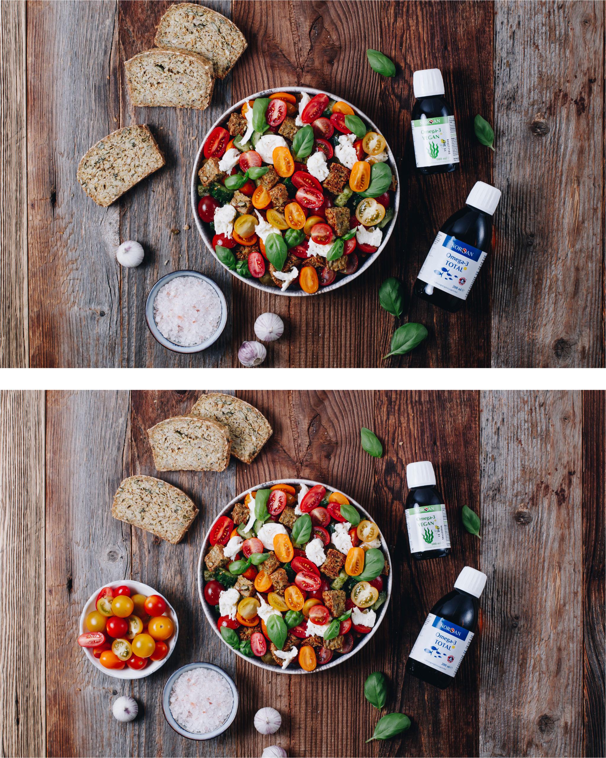 Food Fotografie Tomaten Mozarella Salat Holzhintergrund